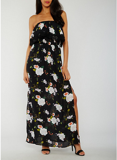 Off the Shoulder Floral Print Maxi Dress with Overlay,BLACK,large