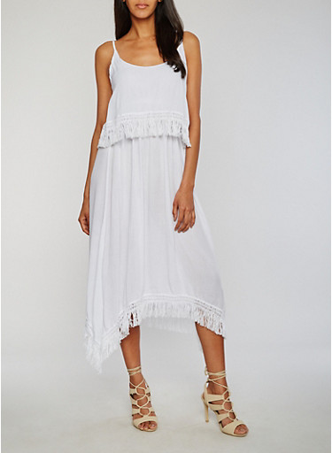 Mid Length Gauze Knit Sundress with Fringe Hem,WHITE,large