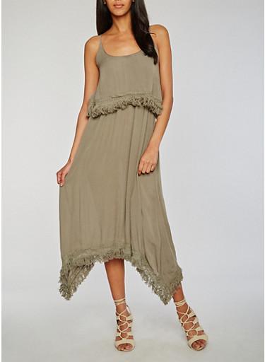 Mid Length Gauze Knit Sundress with Fringe Hem,OLIVE,large