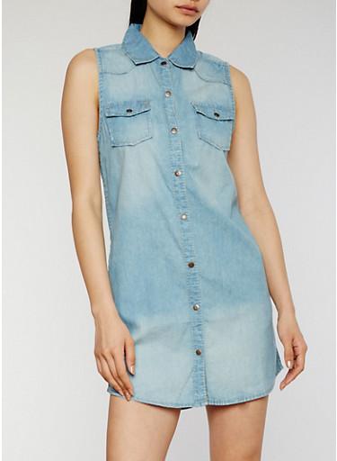 Button Front Denim Shirt Dress,MEDIUM WASH,large