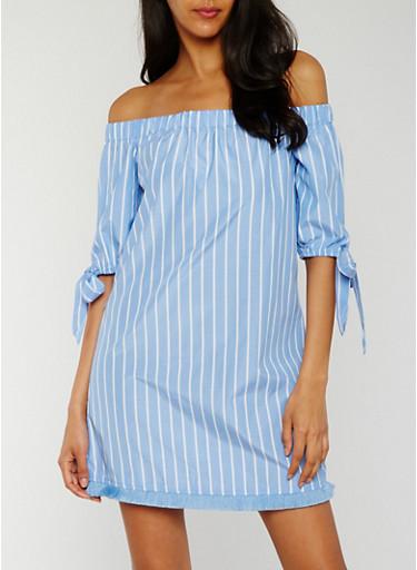 Striped Off the Shoulder Dress with Frayed Hem,BLUE/WHITE,large