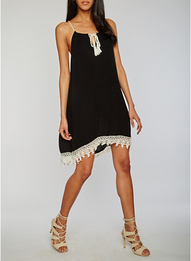 Sleeveless Crinkle Knit Crochet Hem Dress with Crochet Hem,BLACK,large