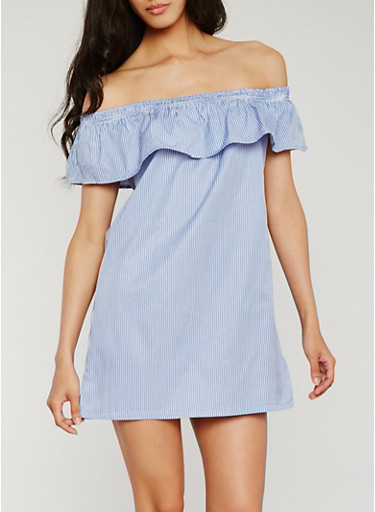 Striped Off the Shoulder Dress with Flounce Overlay,BLUE/WHITE,large