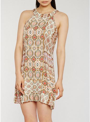 Sleeveless Printed Trapeze Dress,NATURAL,large