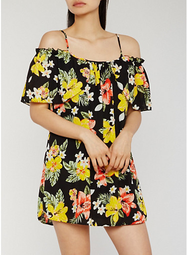 Floral Off the Shoulder Mini Dress,BLACK,large