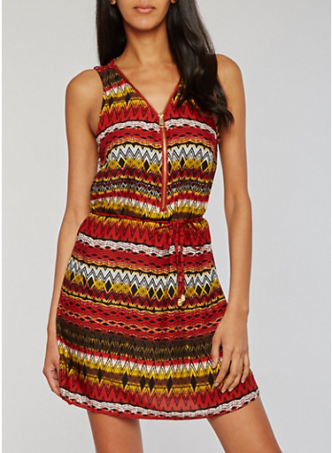 Sleeveless Printed Zip Front Mini Dress,RUST,large