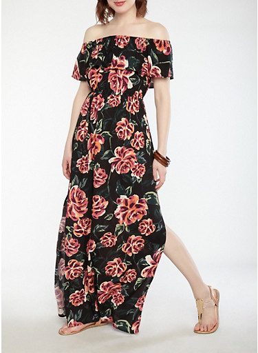 Ruffled Floral Off the Shoulder Maxi Dress,BLACK/MAUVE,large