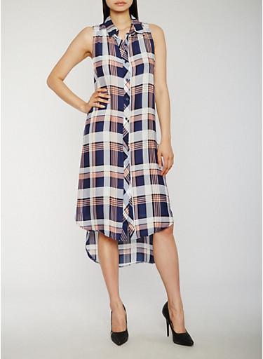 Sleeveless Plaid High Low Shirt Dress,NAVY,large