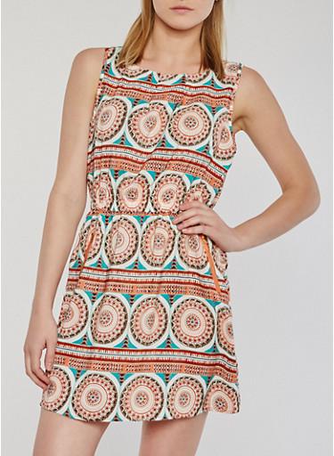 Sleeveless Printed Short Dress,RUST,large