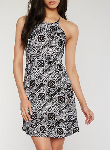 Printed Halter Neck Dress with Back Keyhole,BLACK,large