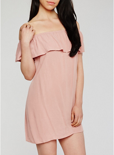 Off the Shoulder Ruffled Gauzy Dress,MAUVE,large