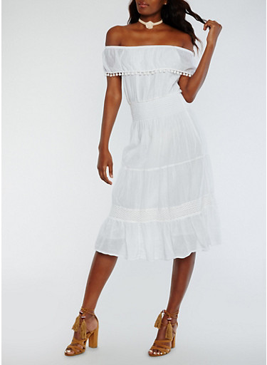 Solid Off the Shoulder Peasant Dress,WHITE,large