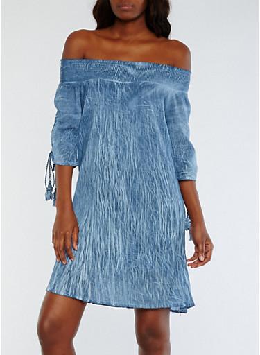 Off the Shoulder Smocked Dress with Split Sleeves,DENIM/WASH,large