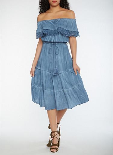Off the Shoulder Peasant Dress with Tassel Belt,DENIM/WASH,large