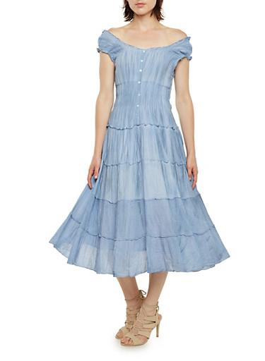Gauzy Drop Shoulder Dress,LIGHT BLUE,large