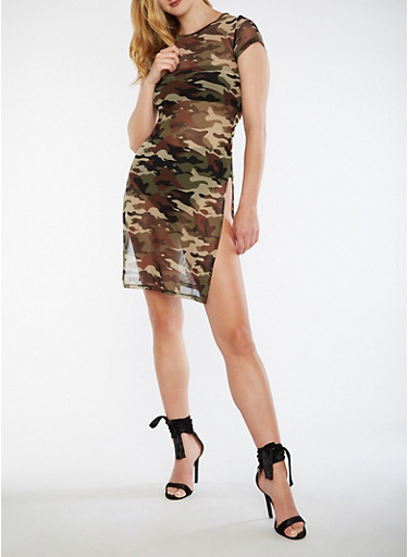 Camo Print Mesh T Shirt Dress,OLIVE,large