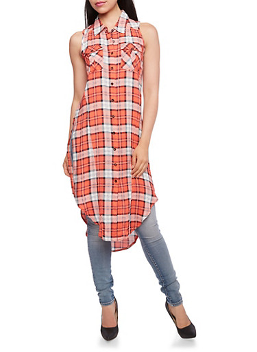 Plaid Tunic Top with High Side Slits,CORAL,large
