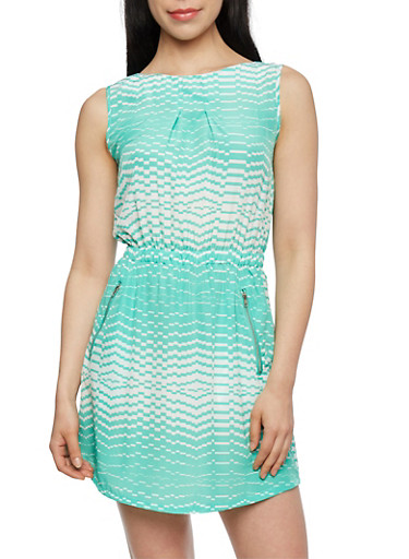 Printed Dress with Zipper Pockets,MINT,large
