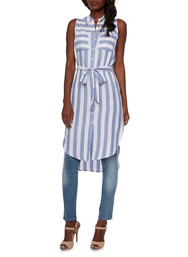 Striped Shirt Dress with Belt and High-Low Hem,CHAMBRAY/WHITE,large