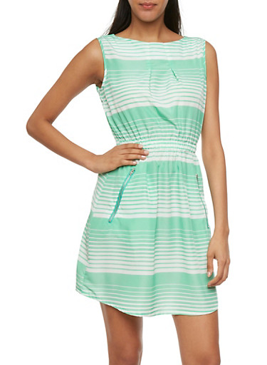 Sleeveless Striped Dress with Zipper Pockets,MINT,large