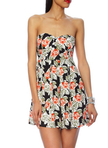 Strapless Floral Print Pleated Dress,BLACK,large