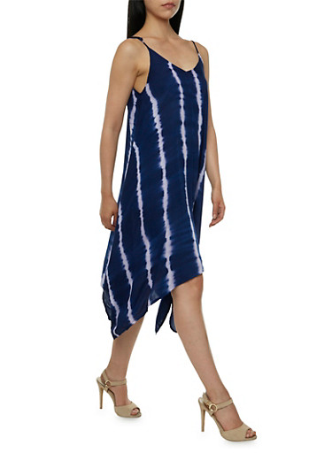 Shift Dress with Tie-Dye Stripes,NAVY/WHITE,large