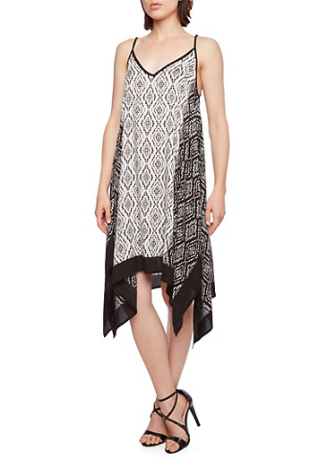 Geometric Print Dress with V-Neck and and Handkerchief Hem,BLACK/WHITE,large