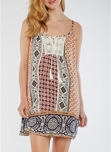 Printed Tank Dress with Crochet Detail,BLUE/CORAL,large