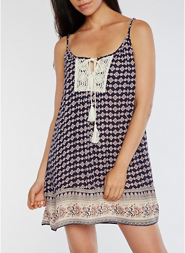 Printed Shift Dress with Crochet Detail,NAVY,large