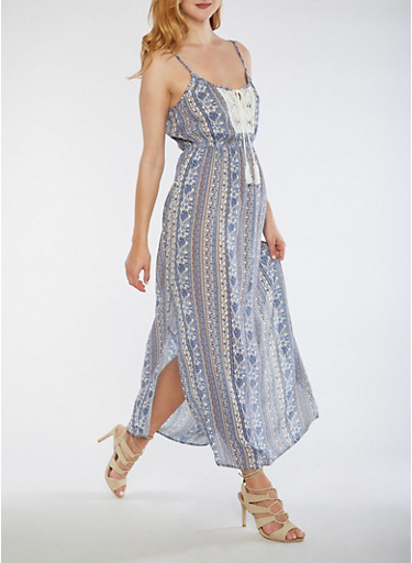 Printed Maxi Dress with Crochet Detail,BLUE/CREME,large
