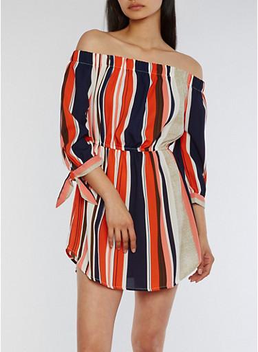 Off the Shoulder Striped Skater Dress,CORAL/NAVY,large