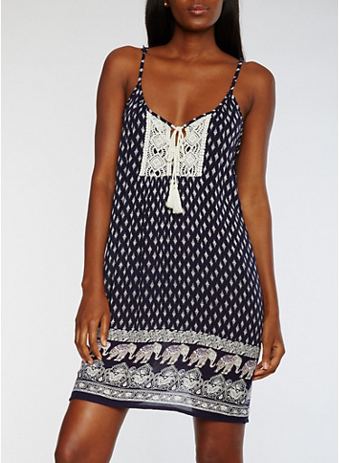 Sleeveless Printed Dress with Crochet Detail,NAVY,large