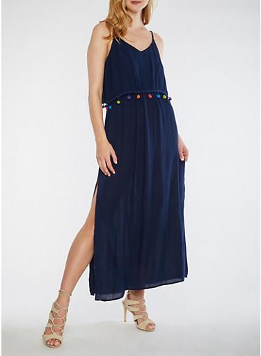 Pom Pom Trim Maxi Dress,NAVY,large