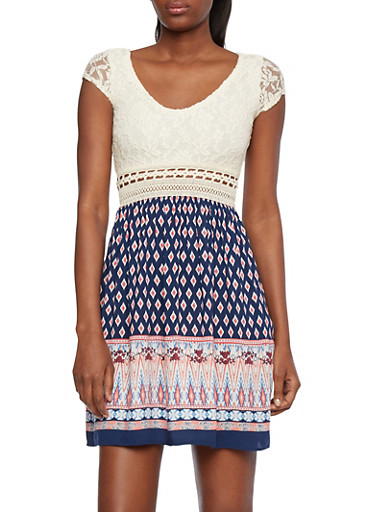 Lace Skater Dress with Crochet Waist and Ornate Print,NAVY/CORAL,large