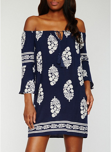 Off the Shoulder Border Print Peasant Dress,NAVY,large