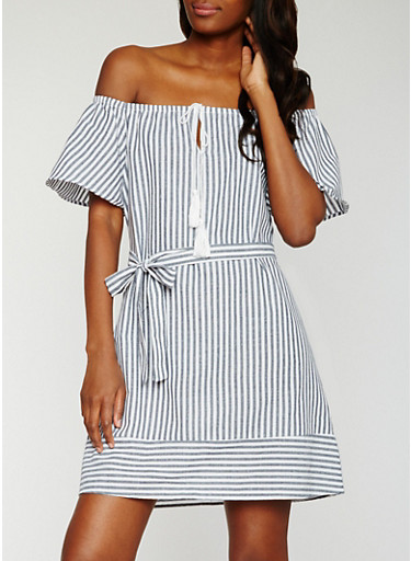 Striped Off the Shoulder Belted Peasant Dress,NAVY/WHITE,large