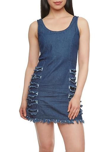 Sleeveless Denim Dress with Distressed Stripe Accents,MEDIUM WASH,large