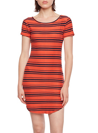 Striped Dress with Shirttail Hem,SUMMER FIG/BLUE,large