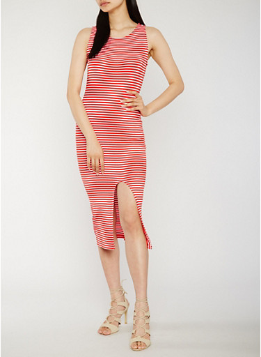 Sleeveless Striped Rib Knit Dress with Front Slit,RED/WHITE,large