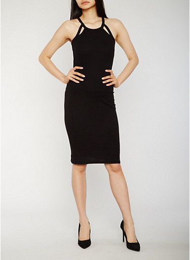 Rib Knit Cutout Halter Neck Bodycon Dress,BLACK,large