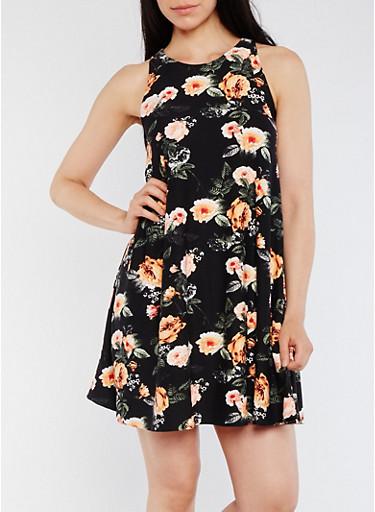 Sleeveless Swing Dress with Back Keyhole,BLACK,large