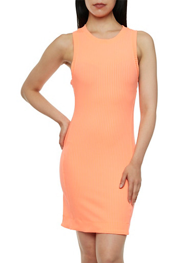 Rib-Knit Tank Dress with Scoop Neck,CORAL,large