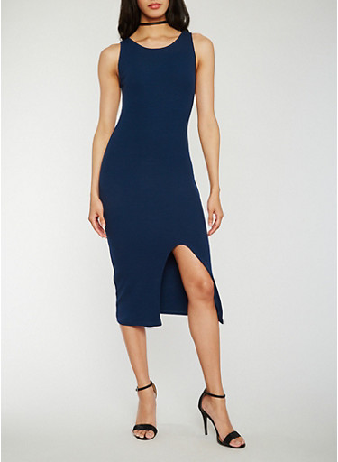 Solid Tank Dress with Slit,NAVY,large