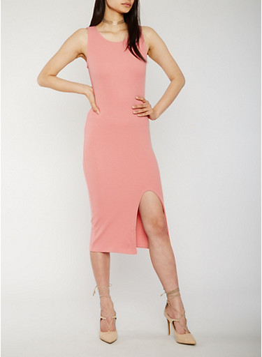 Solid Tank Dress with Slit,DUSTY ROSE,large