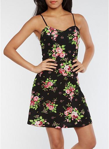 Sleeveless Rose Skater Dress,BLACK,large