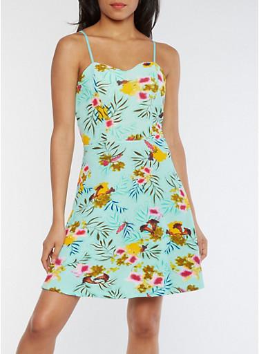 Floral Textured Knit Skater Dress,SEAFOAM FLORAL,large