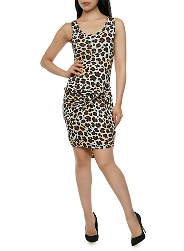 Leopard Print Dress with Slit at Knotted Accented,CHEETAH PRINT,large
