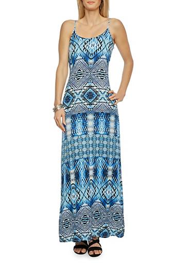 Printed Maxi Dress,BLUE,large