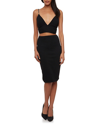 High-Waisted Pencil Skirt in Textural Knit,BLACK,large