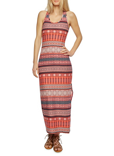 Printed Maxi Dress with Ruched Racerback,MULTI RUST,large
